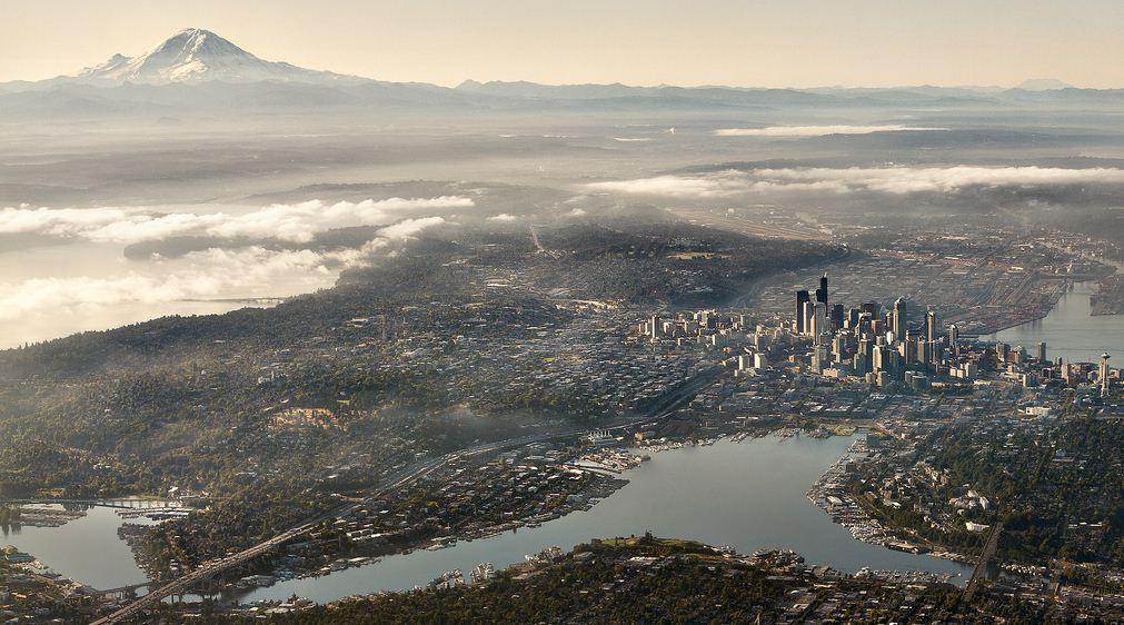 город Сиэтл вид сверху