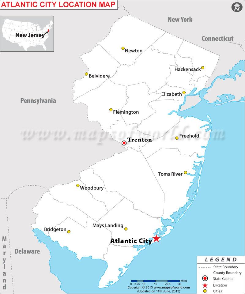 атлантик сити на карте США фото